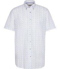korte mouwen overhemd bugatti wit met stippen