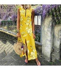 zanzea vestido de cóctel floral mujeres corte largo del partido bajo maxi vestido de tirantes beach -amarillo