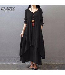 zanzea boho maxi largo del vestido ocasional de las mujeres sólido algodón de lino vestidos tamaño más floja elegante de la manga completa con cuello en v vestido de negro -negro