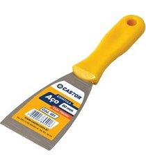 espátula em aço 60mm com cabo de plástico amarelo