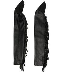mm6 maison margiela longline fringed gloves - black