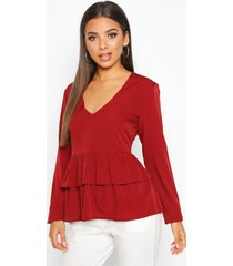 plunge double ruffle smock top, berry