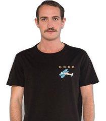 camiseta albedrío slim modo avión negro