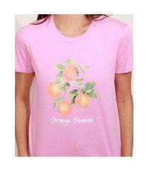 "t-shirt feminina mindset orange season"" manga curta decote redondo rosa"""