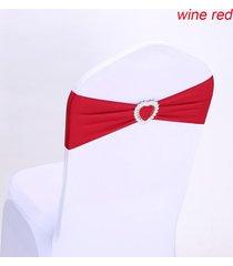 presidente 10pcs la silla del estiramiento elástico spandex banda banda del corazón hebilla de decoración de la boda - chile rojo