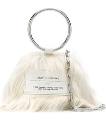 diesel faux fur tote bag - white