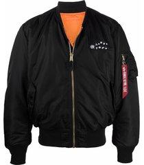 10 corso como logo-embroidered flight jacket - black