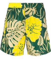 moncler palm leaf-print swim shorts - yellow