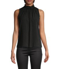 rebecca taylor women's dotted silk-blend top - black - size 2