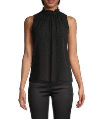 rebecca taylor women's dotted silk-blend top - black - size 2