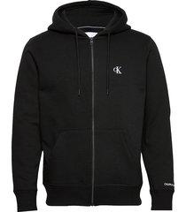 ck essential reg zip through hoodie trui zwart calvin klein jeans