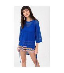 t-shirt ponto tela azul arara - p