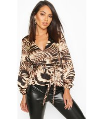 satin animal print wrap peplum blouse, brown