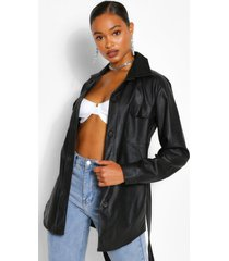 belted faux leather utility jacket