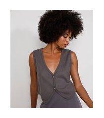 colete de tricô feminino mindset alfaiatado com botões decote v chumbo