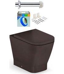 kit bacia sanitária convencional com assento gap café + conjunto de fixação, tubo de ligação e anel de vedação - roca - roca