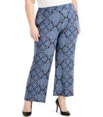 kasper plus size paisley-print pull-on pants