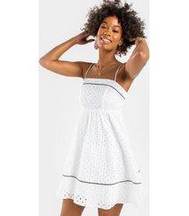 lonnie eyelet babydoll mini dress - white