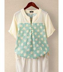 camicetta per donna scollatura con scollo tondo manica corta patchwork di pizzo
