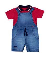 macacão curto paraiso meia manga jeans com piquet vermelho