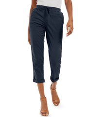 style & co petite twill-tape-tie utility pants, created for macy's