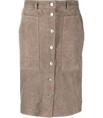 allsaints button down suede skirt - grey