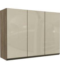 armário aéreo cozinha 120 cm maxxi 3 portas com vidro nogal - kappesberg