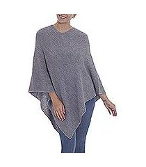 100% alpaca poncho, 'enchanted evening in smoke' (peru)