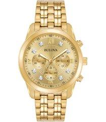 bulova men's chronograph diamond-accent gold-tone stainless steel bracelet watch 43mm