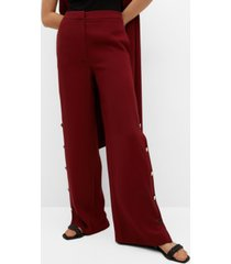 mango women's side buttons pants