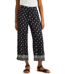 style & co printed border wide-leg pants, created for macy's