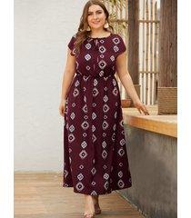 plus tamaño borgoña geométrica redonda cuello cintura con cordón vestido