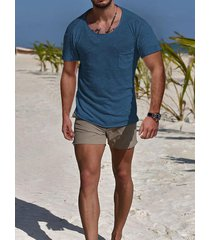 hombres verano casual algodón soft plain pocket t-shirt