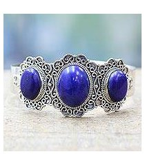 lapis lazuli cuff bracelet, 'starry windows' (india)