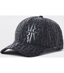 river island mens black ri monogram nylon cap