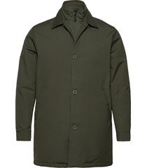 arctic canvas jacket with buttons - trenchcoat lange jas groen knowledge cotton apparel