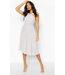 bridesmaid occasion pleated detail midi dress, grey
