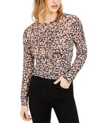 bar iii floral-print ruched top, created for macy's