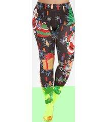 plus size christmas snowflake santa claus and tree print leggings