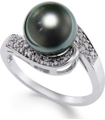 cultured tahitian black pearl (9mm) and diamond (1/10ct. t.w.) swirl ring in 14k white gold