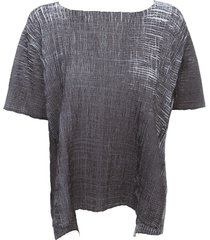 pierantoniogaspari pleated sweater s/s w/slits