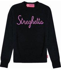 mc2 saint barth black woman sweater streghetta lurex embroidery