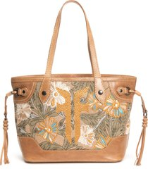 frye melissa embroidery floral carryall tote - beige