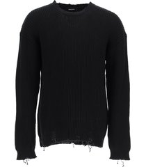 dsquared2 destroyed cotton sweater with logo