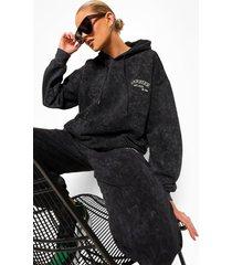 acid wash gebleekte geborduurde hoodie, charcoal