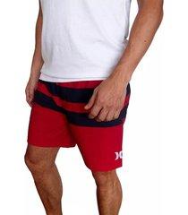 pantaloneta hurley blackball beater para hombre - rojo/negro
