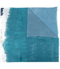 faliero sarti colour-block modal-blend scarf - blue