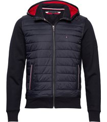 mixed media hooded zip through fodrad jacka blå tommy hilfiger