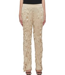 side slit crinkle silk wide leg pants