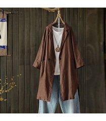 zanzea plus s-5xl camisa de solapa de manga larga para mujer tops camisa casual blusa lisa suelta -café